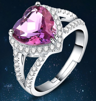 Silver jewelry cheap latest design women engagement diamond wedding 925 sterling silver ring with purple stone