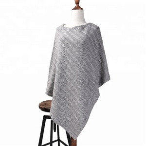 Popular wrap knitting jacquard cashmere poncho from China