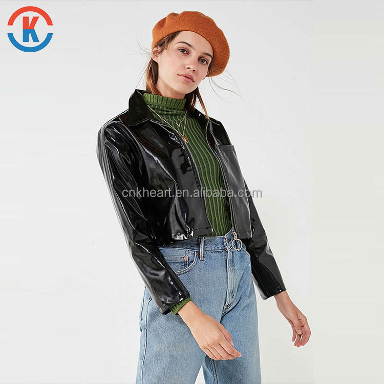Factory direct supply Patent Cropped Jacket with collar