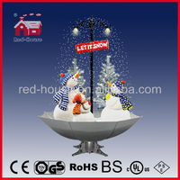Hot Christmas Smart Village sparkling Decoration, Snowing Christmas Snowman Family with umbrella base with LED lights and tree