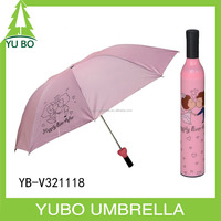 Wedding gifts pink three fold Wine bottle umbrella with lover printing