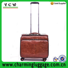 Top grade leather travel bag ladies laptop trolley bag