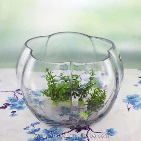 wholesale Stylish Clear Decorative Pumpkin Holiday Use Mini glass fish bowl