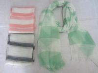 Lady Handmade Square Stripe Printed Polyester Scarf
