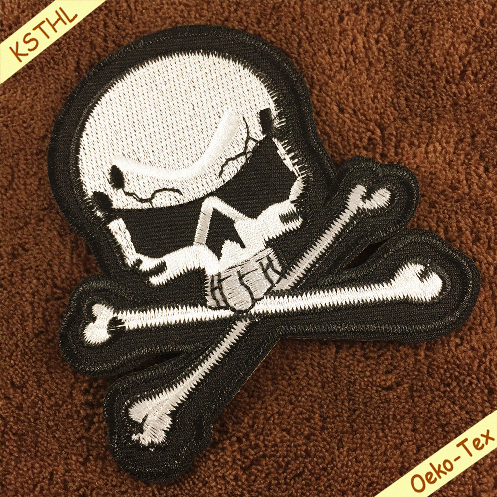customized logo punk skull iron - on patch for jackets