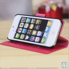 Crazy Horse Pattern PU Leather Folio Stand Wallet Case for Apple iPhone 5C