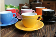 6 espresso cups & saucers assorted colours for oem design