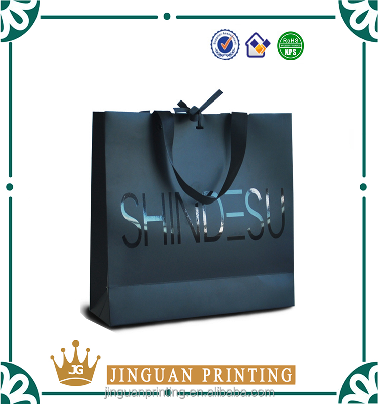 Wholesale Promotional Cardboard Shopping Paper Bag With Logo UV Black Ribbon Belt