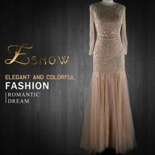 2016 High Quality Tulle Net Sexy Long Illusion Sleeves Beaded Evening Dress for Women