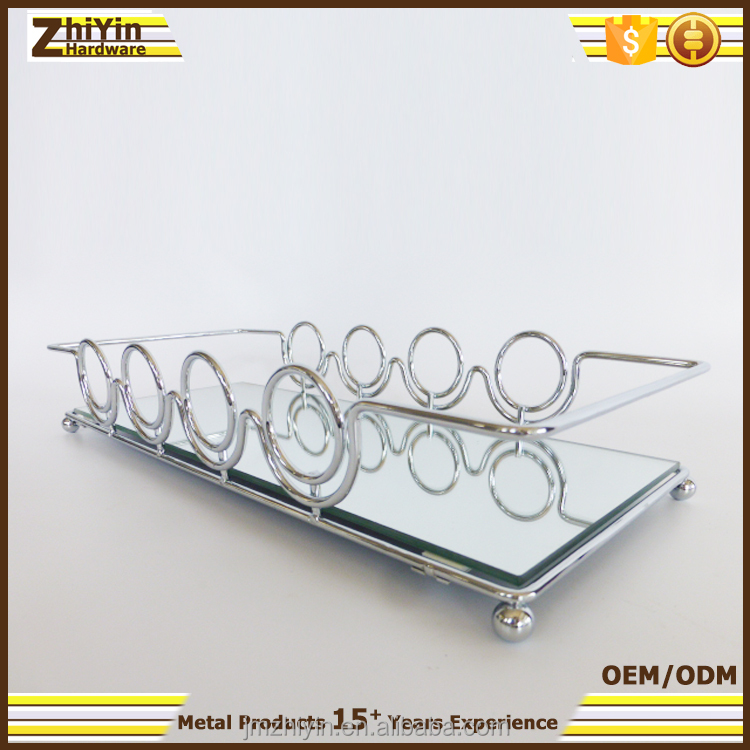 Decorative small silver chrome plated mirrored vanity tray