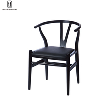 Comfortable wooden armrest dining chair with PU cushion