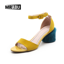 yellow round special buckle strap leather womens private label new collection of sandals