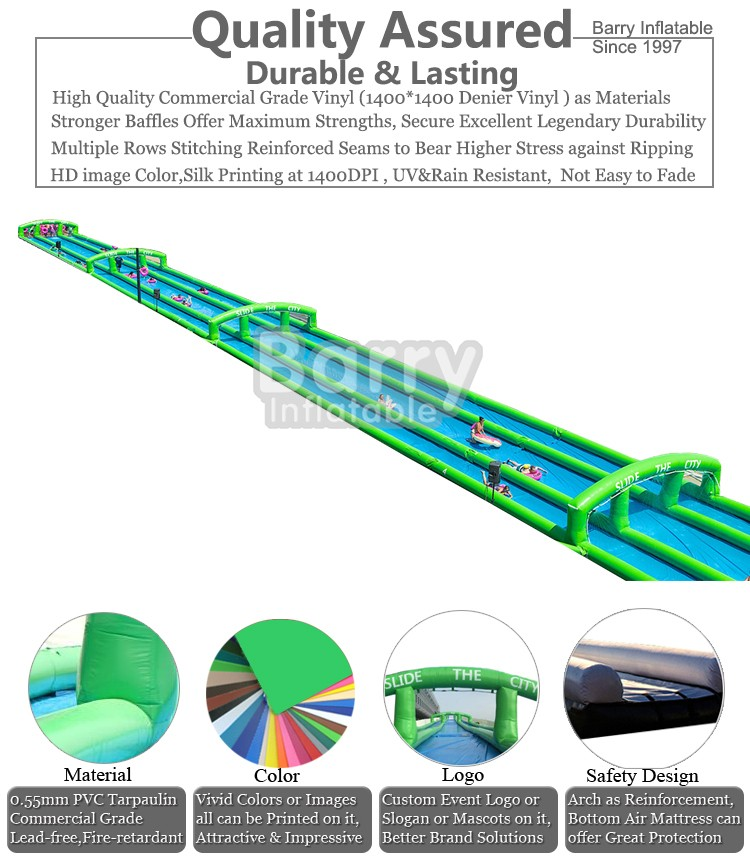 World longest waterslide , inflatable slide n slip slash slide the city China