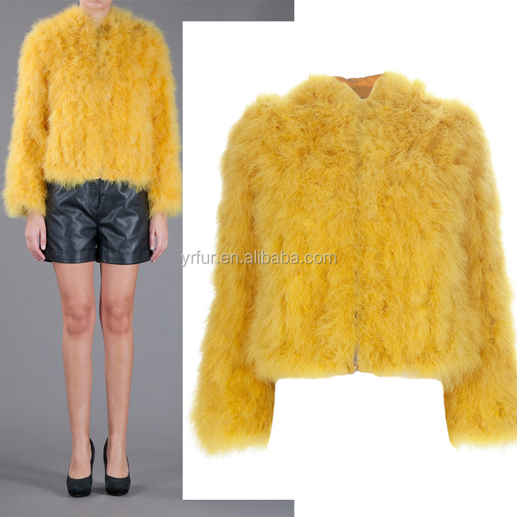 YR697 New Arrival Famous Design Turkey Feather Jacket/Famous Fur Jacket Women