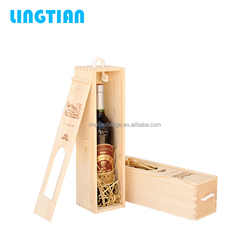 LINGTIAN Factory Wholesale Single Bottle MDF Wooden Wine Boxes With Sliding Lid