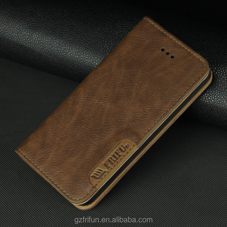 Noble PU leather and Newest classical design leather case flip case for iphone5 /SE