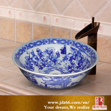Hand painted ceramic counter top washbasin by chinese supplier