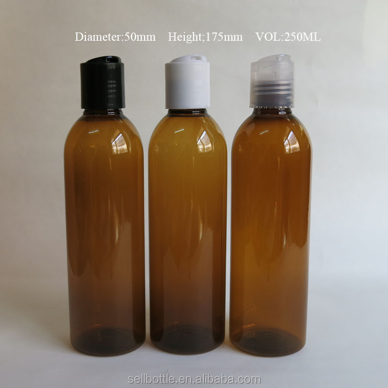 250ml empty amber plastic hotel shampoo bottles with disc cap