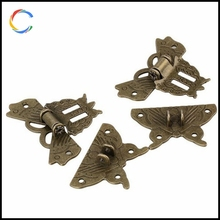Wooden Box Classical Bronze Lock Latch Butterfly Buckle
