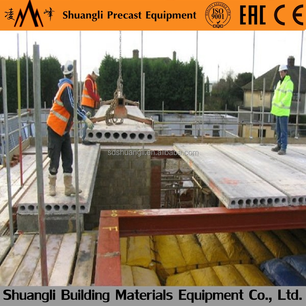Prestressed concrete hollow core slab machine, prefab house steel frame for sale