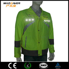 waterproof windbreaker cycling high visibility jacket with led light
