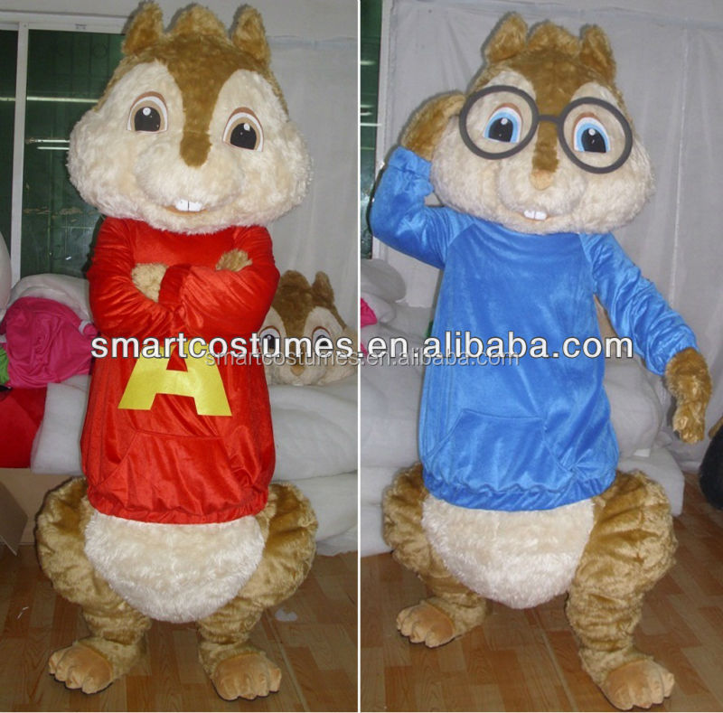Attractive price nice chipmunks costume OEM/ plush alvin and the chipmunks mascot costumes for adults