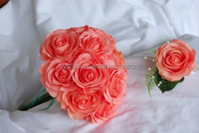 artificial flowers bouquet florist decor coral peach single real touch roses wedding car flower
