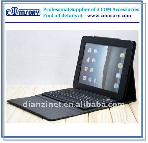 2011 hot sale For iPad wireless bluetooth keyboard case for iPad case cover with keyboard for iPad 2 PU leather case