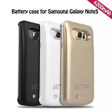 Ultra Slim Portable Rechargeable External Battery Backup Power Bank Charger Case Cover for Samsung Galaxy Note 5