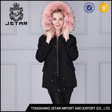 Women Fur Lined Military Uniform Parkas With Fur Collar