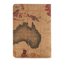 Wholesale Retrp Map Pattern Folio Leather Case for iPad Pro,for iPad pro Case hot selling
