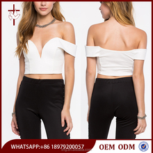 Crop tops wholesale plunge off-shoulder neck white crop top women