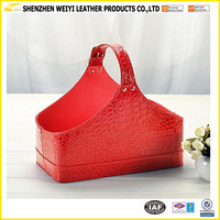 New Product Customized PU Leather Wine Gift Basket For Holidays