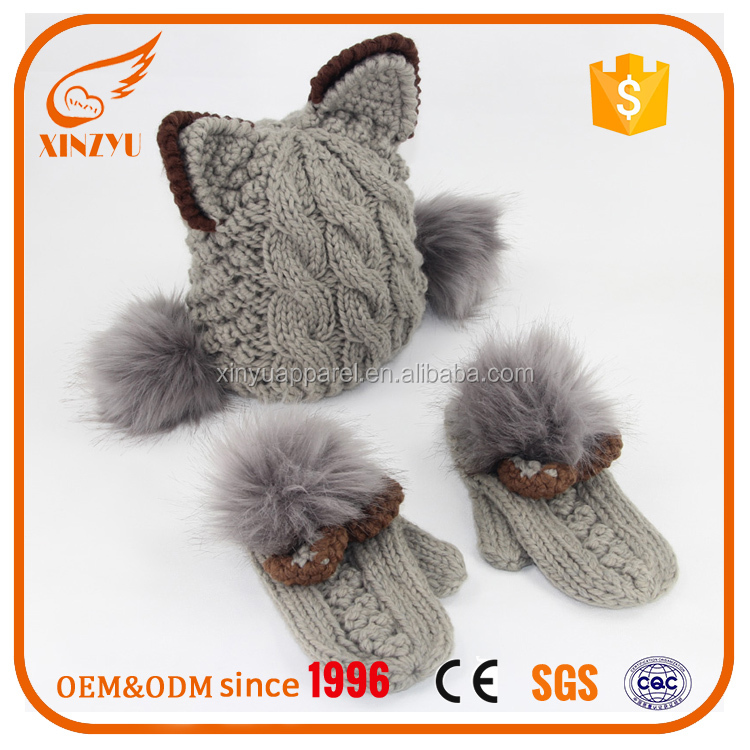 Wholesale Wool Knitted Winter Hats Cat Ear Fox Knitted Hat With Gloves