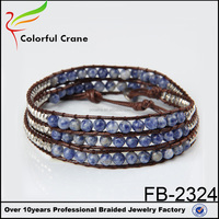 The most popular products of bracelet, white and blue nature stone beads vintage handmade bracelet