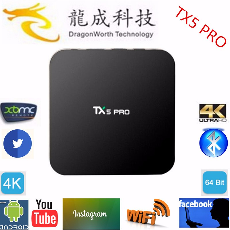 2016 Android tv box Tx5 Pro kodi 16.0 BT4.0 support 4k Software to flash digital receiver iptv box