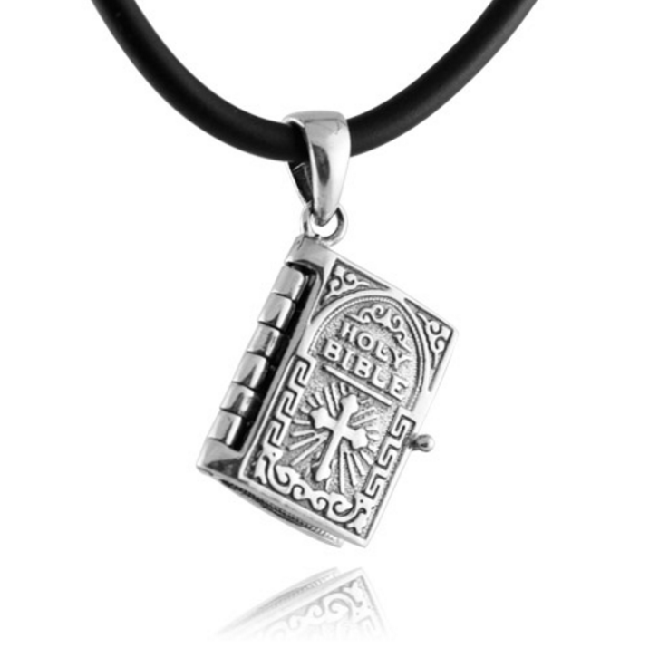 SENFAI online shop china metal Christian Cross Holy Bible book with prayer pendant necklace