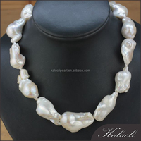 16-18MM traditional white natural large baroque pearl necklace
