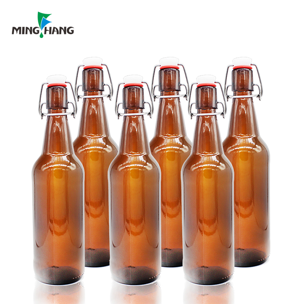 500ml swing top cap amber beer glass bottles