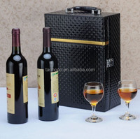 wholesale pu leather Handmade Vintage wine carrier design classic wine boxes wholesale