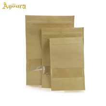 Wholesale food grade zipper sealed clear window kraft paper packaging bag