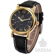 Men Orkina Black Leather Gold Case Sport Date Quartz Analog Wrist Watch