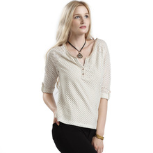 New Style Hollow Out Two Button Placket Women Fashionable Shirts