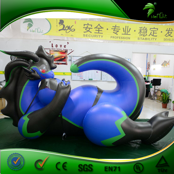 New Custom Design Blue Big Breast Inflatable Laying Sexy Dragon
