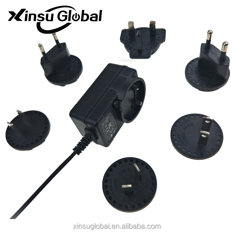 Interchangeable plug ac dc power adapter 6V 1A