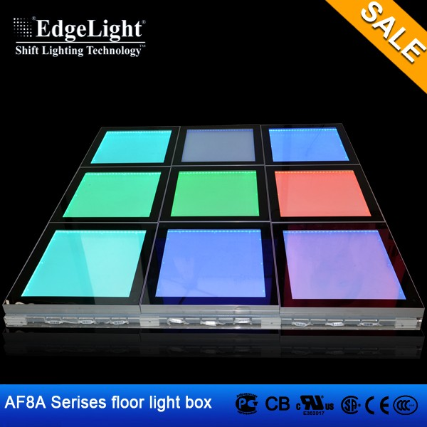 Edgelight AF8A with digital controlled color luminous plate and toughened glass hot sales led dance floor