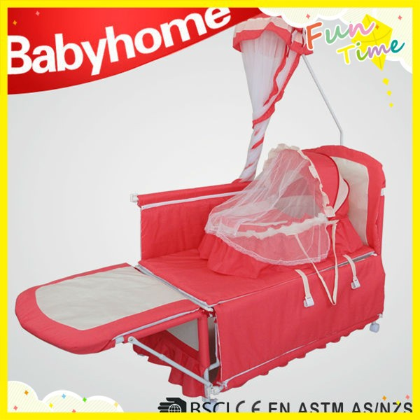 luxury red color fabric new born baby swing bed with mosquito net