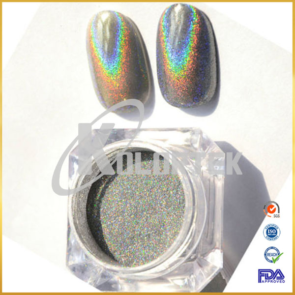 Magic chrome holographic nail polish pigment, spectraflair hologram powder factory