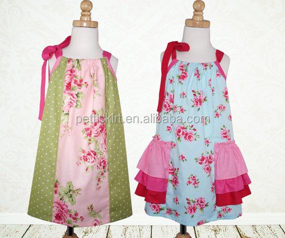 Seaside Children Bubble Dress Leisure Floral Pattern Kids Girl Long Dress