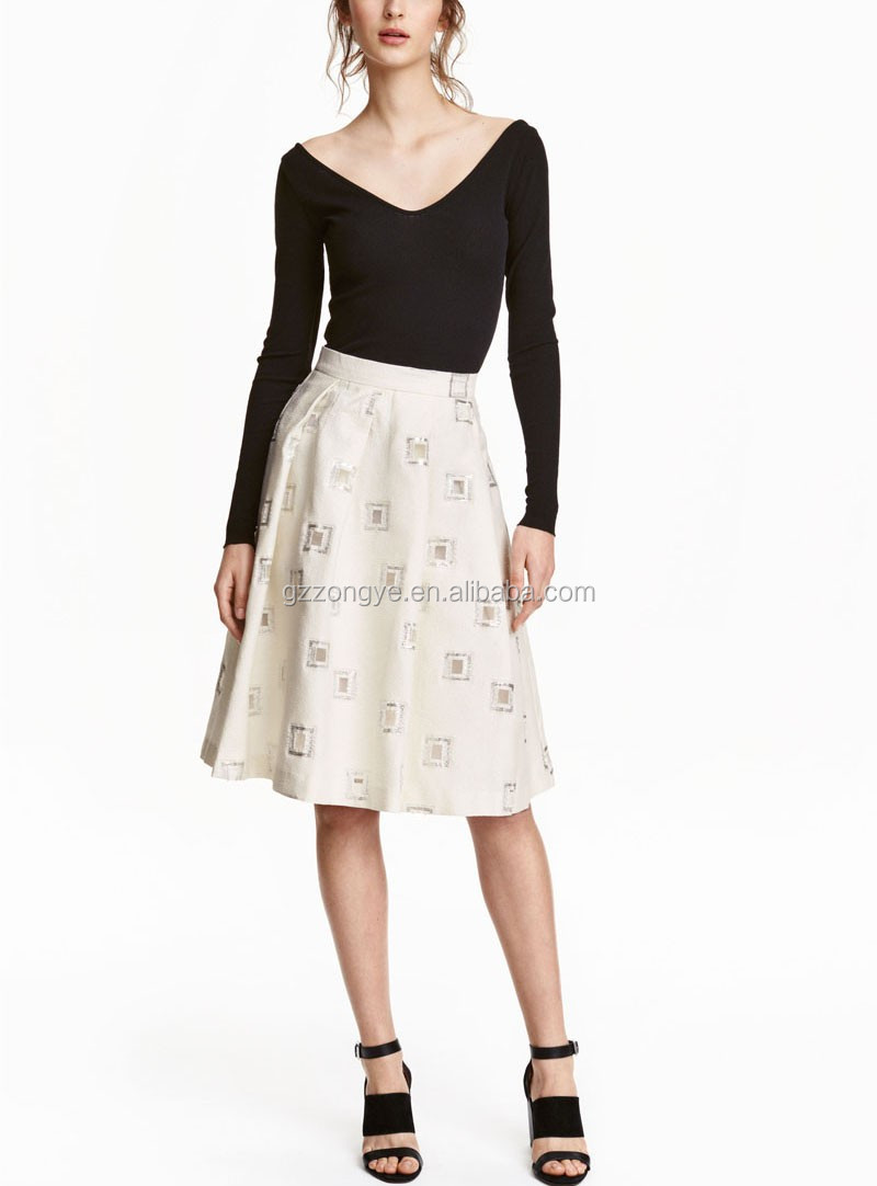 High quality printed pleated A-line skirt for women of Guangzhou